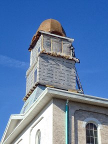 The Martin County Courthouse cupola- renovation underway.
