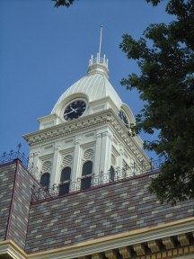 The restored Randolph County Courthouse clock tower.