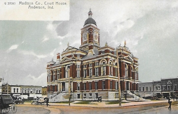 An old postcard of the 1885 Madison County Courthouse in Anderson.