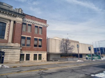 The modern Elkhart County Superior Courthouse in Elkhart incorporates part of the facade of the city's first high school.