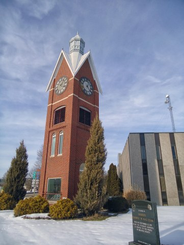 Branch County, Michigan's reproduction of their former clock tower outside of the current courthouse.