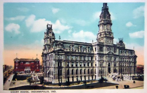 A historic postcard of the 1876 Marion County Courthouse, located in front of the present structure.