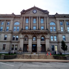The Huntington County Courthouse represents the first wave of neoclassical courthouse designs in Indiana.
