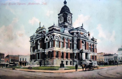 A postcard I own depicting the former Madison County Courthouse, Clinton County's near twin.