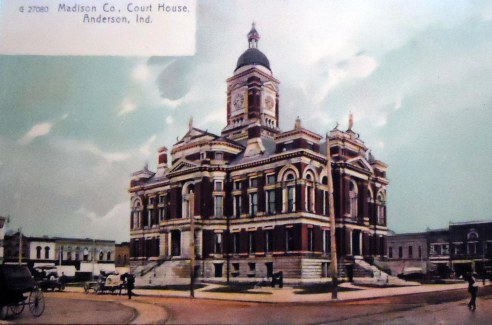 Another postcard I own depicting the former Madison County Courthouse, Clinton County's near twin.