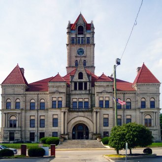 The Rush County Courthouse.