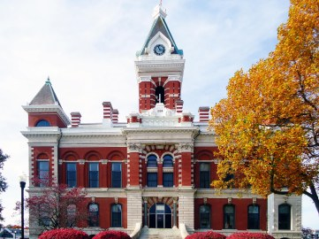 The 1884 Gibson County Courthouse in Princeton
